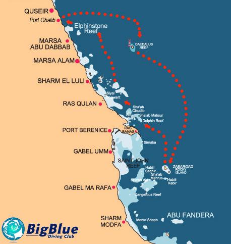 Daedalus Reef , Rocky Island ,Zabargad Island , diving spot , map